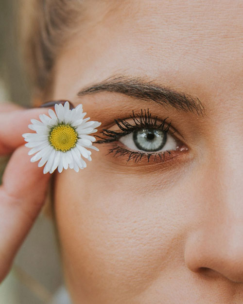 blue eye and white flower next to it and an angled eyebrow